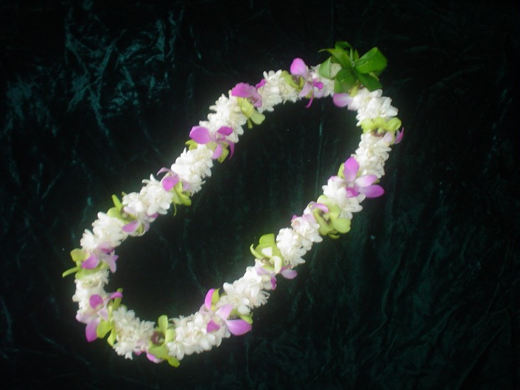 Double Tuberose with Green and Lavender Orchid Lei